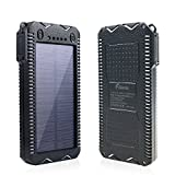 15000mAh Solar Charger with Cigarette Lighter Function Outdoor Camping Waterproof Power Bank Protable External Battery Dual LED Flashlight for iPhone iPad Cell Phones (White)