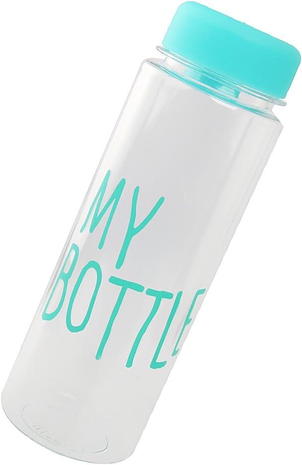 500 Ml De Jugo De Botella De Agua Reutilizable Taza De Leche De Fruta Mano Una Botella De Plástico -blue