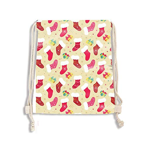 Drawstring Backpack for Sports,Travelling,Hiking,Camping,Shopping Yoga (Christmas Socks)