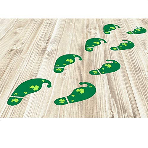 Bememo 54 Count Leprechaun Footprints St. Patrick's Day Decorations Floor Decals Stickers for Shamrock Party Decorations Home Office Store