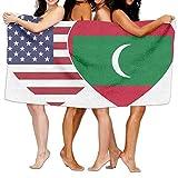 Unisex Maldives USA Flag Twin Heart Over-Sized Cotton Bath Beach Travel Towels 31x51 Inch