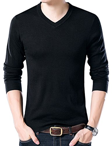 Yeokou Men's Casual Slim V Neck Winter Wool Cashmere Pullover Jumper Sweater,Black,X-Large ()