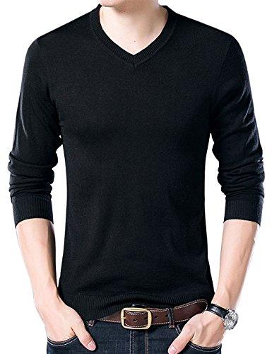 Yeokou Men's Casual Slim V Neck Winter Wool Cashmere Pullover Jumper Sweater,Black,Large