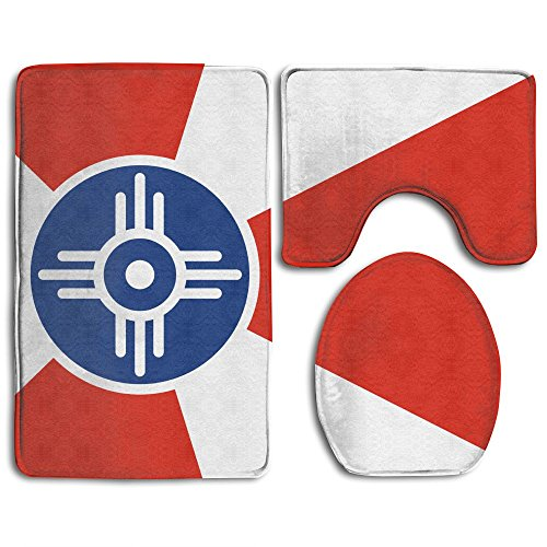 (Flag Of Wichita Kansas Fashion Bath Mat Set 3 Piece Bathroom Mats Set Non-Slip Bathroom Rugs/Contour Mat/Toilet Cover)