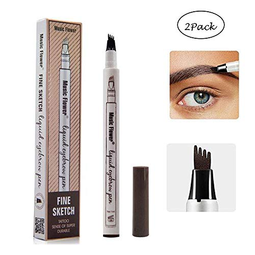 2 Pack Eyebrow Tattoo Pen-LilyAngel Waterproof Microblading Eyebrow Pencil with a Micro-Fork Tip Applicator Creates Natural Looking Brows Effortlessly(Chestnut) ()