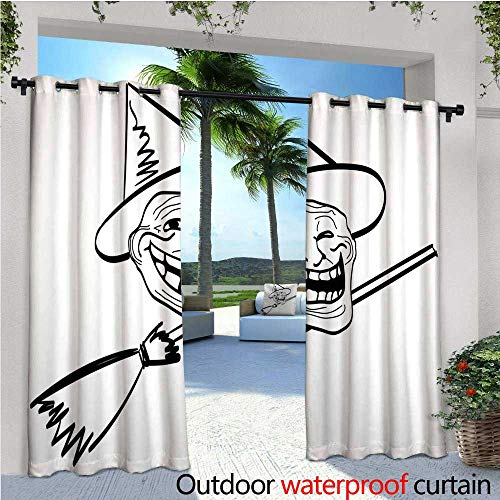Humor Outdoor- Free Standing Outdoor Privacy Curtain Halloween Spirit Themed Witch Guy Meme Lol Joy Spooky Avatar Artful Image Print for Front Porch Covered Patio Gazebo Dock Beach Home W120