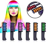 Kalolary Temporary Bright Hair Chalk Set -6 Colors Hair Chalk With Brush -Hair Chalk Comb for Girls, Party, Cosplay- Include Free Rubber Bands,Sealed Bags,Diaposable Cape&Glove