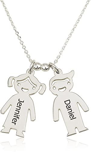 Personalized Children Charms Mothers Necklace Gold Plated Gift for Mom Engraved Boy-Girl Charm