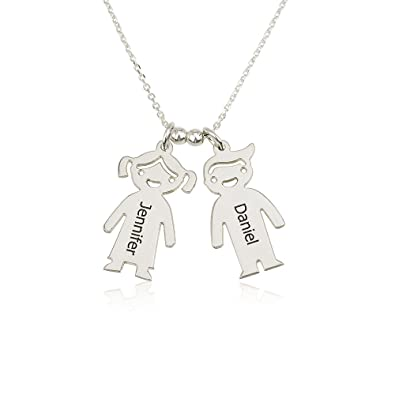 e542c60d5 Amazon.com: Mother's Necklace Engraved Children Charms in Sterling Silver -  Personalized with Any Two Names (14, sterling-silver): Jewelry
