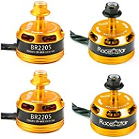 New 4X Racerstar Racing Edition 2205 BR2205 2300KV 2-4S Brushless Motor Yellow For 210 X220 250 280 By KTOY
