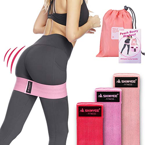 Shinyee Booty Hip Bands High Resistance Bands for Legs and Butt Workout Loop Exercise Band Women,Gym Fitness Circle Non Slip No Roll Fabric Heavy Duty Bootie Training Glute Band Hip (Set of 3 Bands)