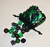 Dice Bag in knitted scale armor size small green and black random