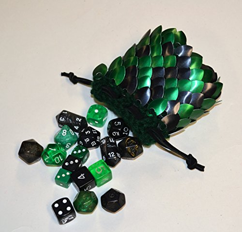 Dice Bag in knitted scale armor size small green and black random by Crystal's Idyll