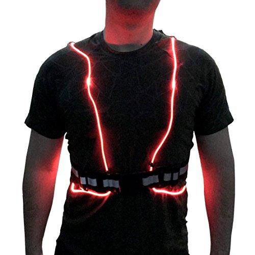LumosPro LED Chaleco reflectante para correr, caminar, correr, ciclismo, senderismo, para hombres y mujeres, correas ajustables, ligero, resistente a la ...