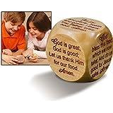 "Large Wooden 2 1/4"" Diameter Christian Mealtime Prayers Prayer Cube"