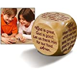 "Large Wooden 2 1/4"" Diameter Christian Mealtime Prayers Prayer Cube"