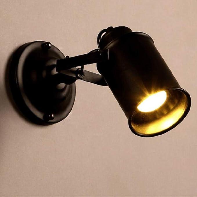 L&L Lámpara de Pared Antiguo proyector Retro Hierro Forjado Negro ...