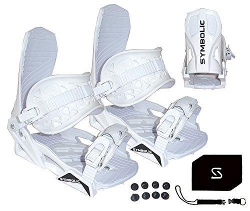 Snowboard Toe Straps - Symbolic Custom-Flow White Snowboard Bindings & Leash & Stomp Pad Large-XL (White, Large-XL Men (Fits 9-14))