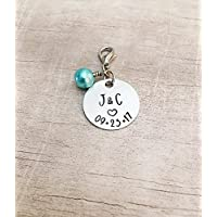 Personalized Bridal Bouquet Charm Something Blue for Bride