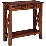 Ashley Furniture Signature Design - Abbonto Sofa Table with Console - 2 Drawers - Traditional - Warm Brown
