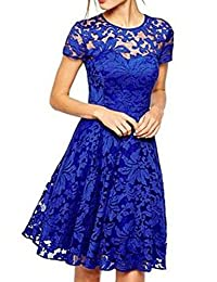 Shinekoo Women Summer Short Sleeve Elegant Floral Lace Dress Lady Party gown
