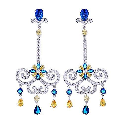 Fashion Women's Earrings Jewelry Silver-Tone Sapphire-Color Austrian Crystal Romantic Tear Drop Chandelier Bridal Earring
