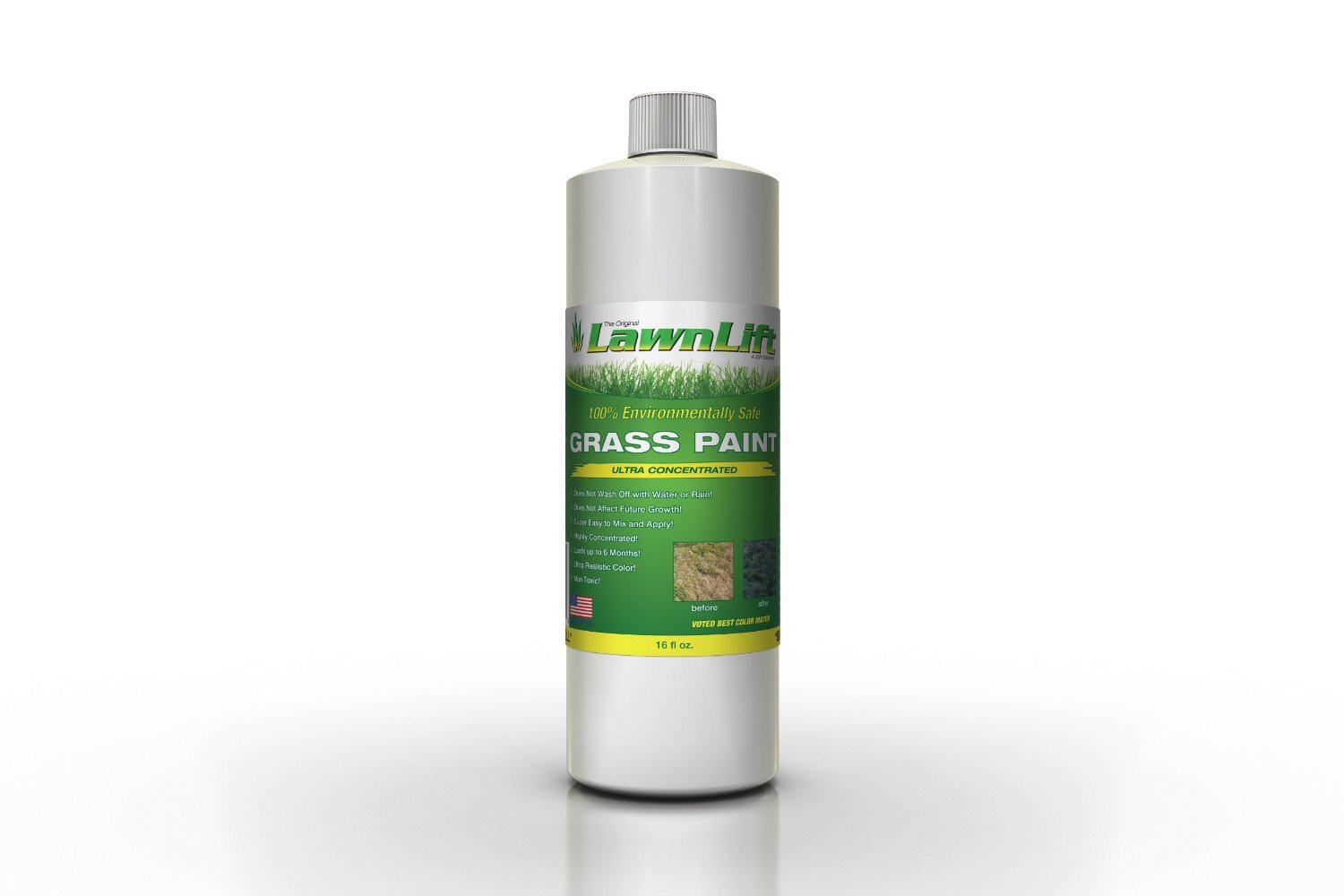 Lawnlift Ultra Concentrated (Green) Grass Paint 16oz. = up to 1 Gallon of Product.