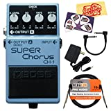 Boss CH-1 Super Chorus Guitar Effects Pedal Bundle with 9V Power Adapter, Gearlux Instrument Cable, Patch Cable, Picks, and Polishing Cloth
