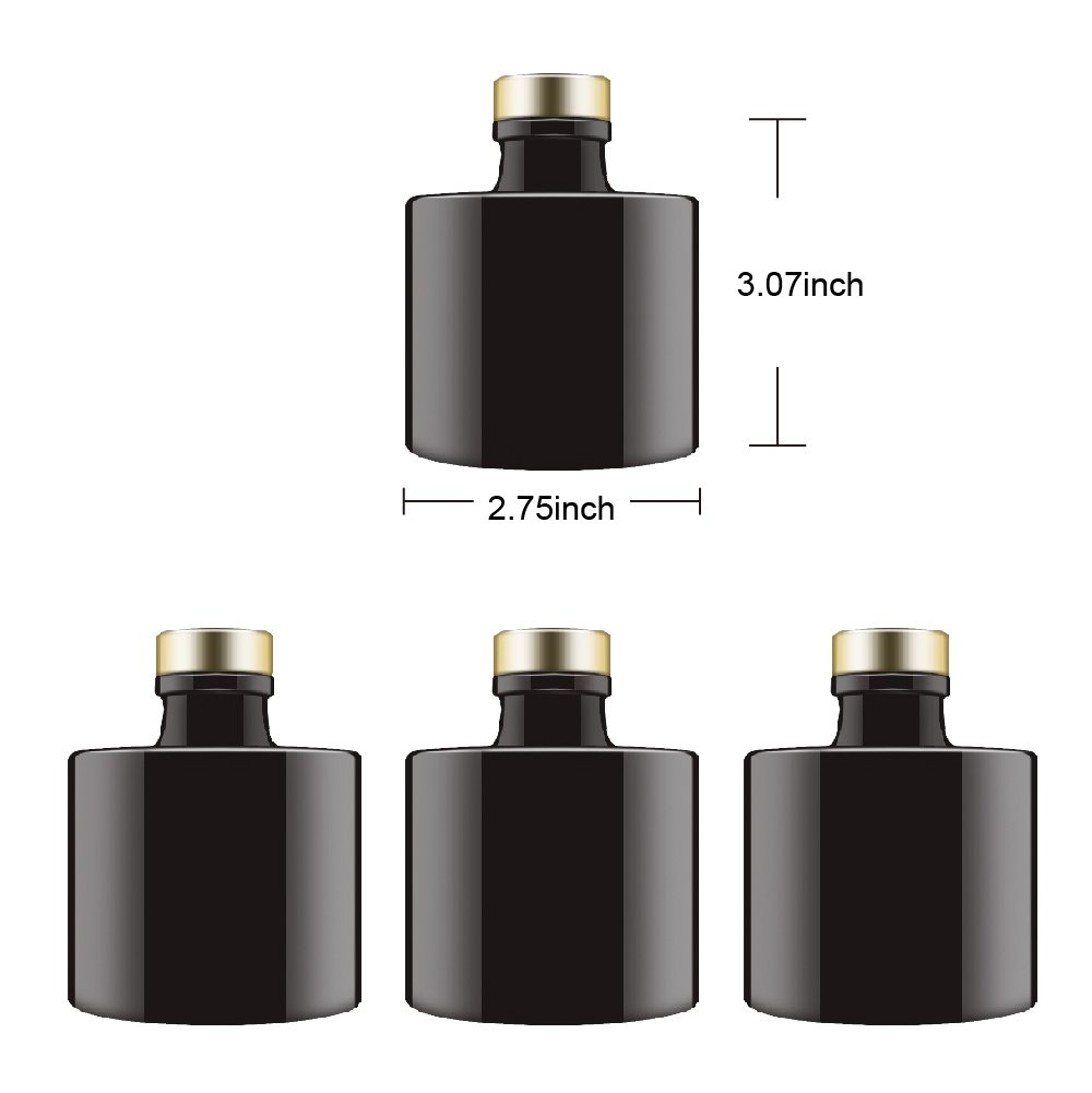 Feel Fragrance  Black Glass Diffuser Bottles Round Diffuser Jars with Gold Caps Set of 4 - 2.95 inches High, 100ml 3.4ounce. Fragrance Accessories Use for DIY Replacement Reed Diffuser Sets. by Feel Fragrance  (Image #4)