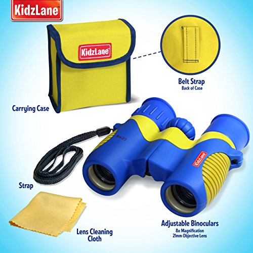 Kidzlane Binoculars For Kids - 8x21 - For Bird Watching, Star Watching, with Carrying Case, Durable and Kids Friendly
