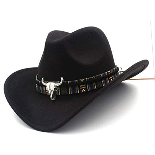 0c3cfae933b Forart Mens Womens Wool Felt Western Cowboy Hat Outdoor Wide Brim Hat Caps  with Strap Black