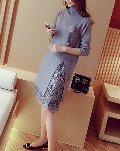 Cardigans Femmes Chandail Gris Sweaters Mi Pull longue Robe Manche Tricot Casual longue 00wqra