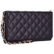 Samsung Galaxy Note 5 Wallet Case, True Color® Premium Faux Leather Quilted Pattern Chain Wristlet Wallet Folio Purse Clutch with removable Golden Chain and Magnetic Closure - Black