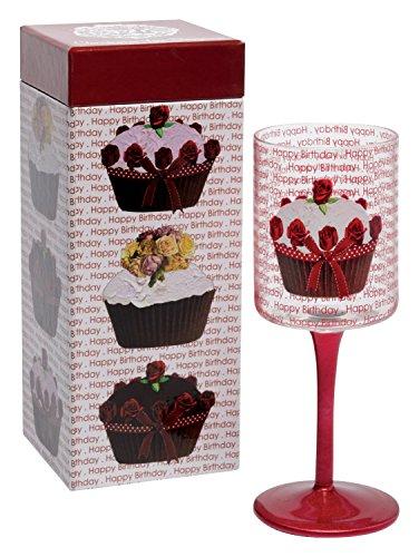 Santa Barbara Design Studio Christopher Vine Design Wine Glass with Colored Long Stem, Happy Birthday - Christopher Design Vine