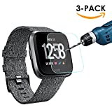 #6: Kimilar [3-Pack] Fitbit Versa Screen Protector, Waterproof Tempered Glass Screen Protector for Fitbit Versa Smartwatch, [9H Hardness] [Crystal Clear] [Scratch Resist] [No-Bubble]