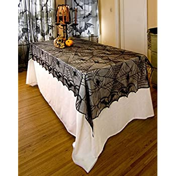 Partypeople Halloween Lace Tablecloth 48u0027u0027x 96u0027u0027 Black Spiderweb Fabric  Tablecover Home