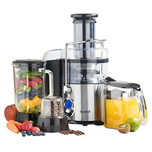 VonShef 220 240 Volts Whole Fruit Juicer, Blender, & Grinder 3 in 1 Digital Extra Powerful 800 WATTS. Bundle With Dynastar Plug Adapters & Multiple Cups | 220v 240v (NOT FOR USA)