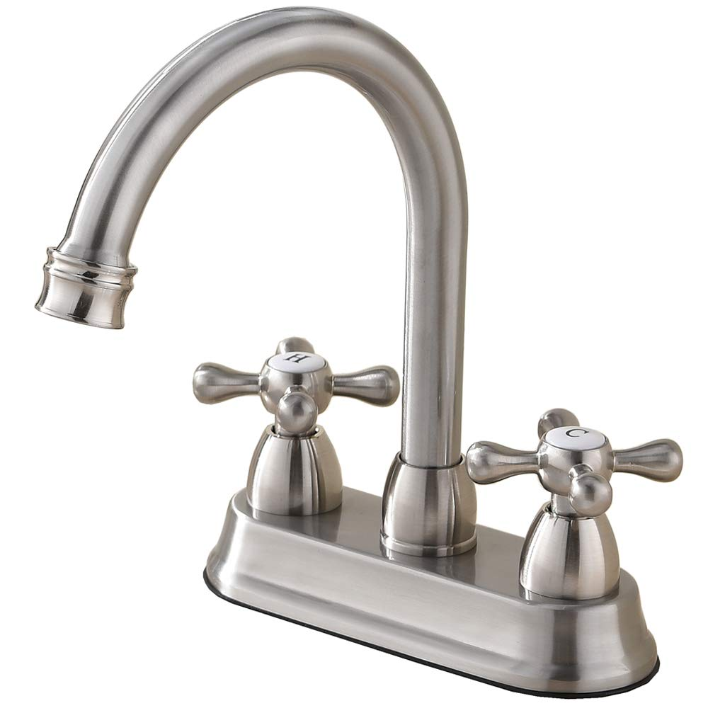 Best Commercial Double Handle Brushed Nickel Bathroom Faucet,Widespread Stainless Steel Bathroom Sink Faucets