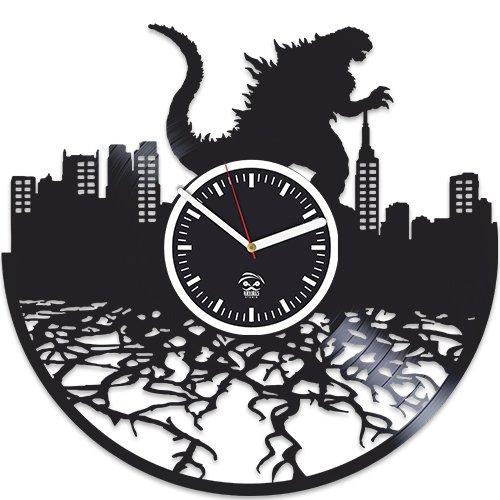 Godzilla Movies, Vinyl Wall Clock Vinyl Record, Kovides, Godzilla Clock, Movie Decor Room Inspirational, Unique Design, Wall Stickers,Handmade Best Gift for Husband, Woman, Man, Boyfriend