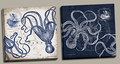 Gango Home Decor Mariner's Compass and Map Indigo and Grey Octopi Coastal Art; Two 12x12in Stretched Canvases; Ready to hang!
