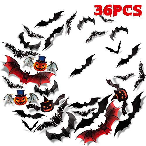 Halloween Batman Art (Sumille 3D Bats Wall Stickers Halloween Decal 36Pcs Art Decor for Haunted House Carnival Vampire and Batman)