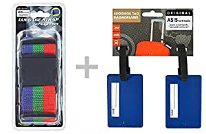 Maletín correas + Maletín colgante Set–1set = 3piezas–1–Cinturón de Seguridad Azul de rayas verde de rojo con Klip cierre–2Dirección, Azul