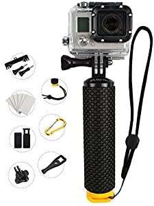 ProFloat Waterproof Floating Hand Grip (Diving Monopod & Selfie Stick) compatible with GoPro Hero 4 Session, Hero 2 3 3+ 4. Handle Mount Accessories Kit & Water Sport Pole for Action Camera