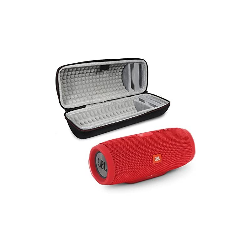 JBL Charge 3 Portable Wireless Bluetooth Speaker Bundle with Protective Case - Red
