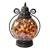 Candlestick,European Christmas Table Wrought Iron Glass Mosaic Candle Holder Candlelight Dinner Romantic Western Ornaments