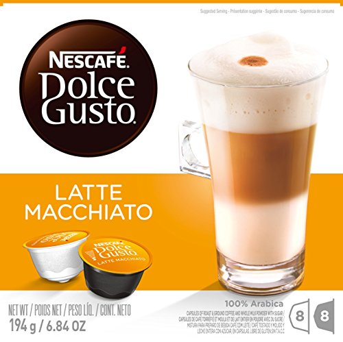NESCAFÉ Dolce Gusto Coffee Capsules – Latte Macchiato – 48 Single Serve Pods, (Makes 24 Specialty Cups) 48 Count