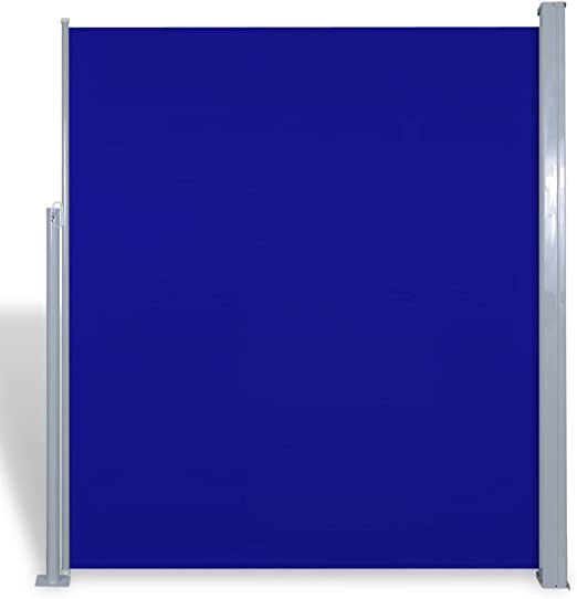 vidaXL Toldo Lateral Retráctil Poste de Acero Azul 180x300 cm Mampara Terraza: Amazon.es: Jardín
