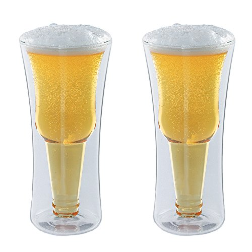 - Modern Home Inverso Double Wall Borosilicate Inverted Beer Glass - Set of 2