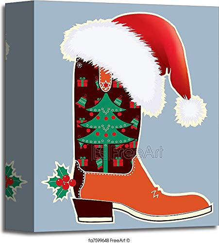 (Barewalls Cowboy Christmas Card with Boot and Santa's Red Hat Gallery Wrapped Canvas Art (10in. x 8in.))