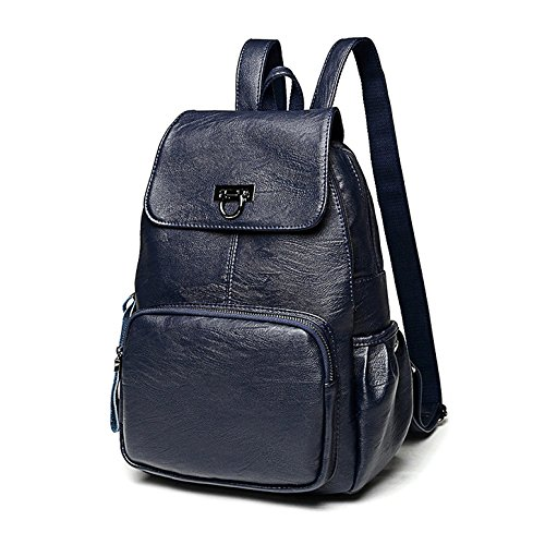 Shoulder Casual Travel Bag Purse Blue Red Leather Ladies for Girls Fanshu Backpack Satchel Bag Backpack School Women wqPfWTxtI